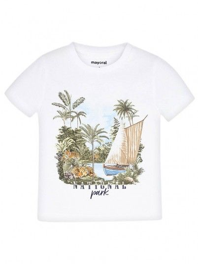 T-Shirt Boy Curta White Mayoral