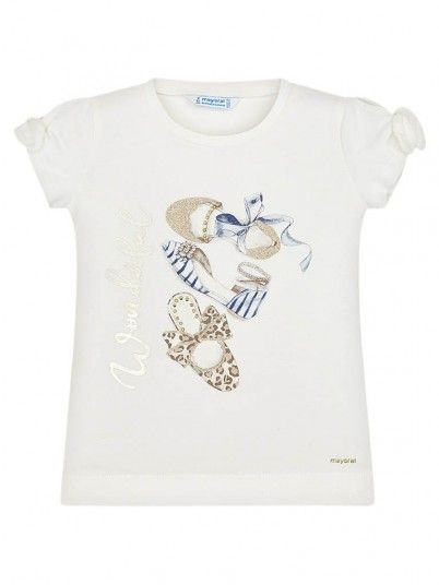T-Shirt Girl Curta Cream Mayoral