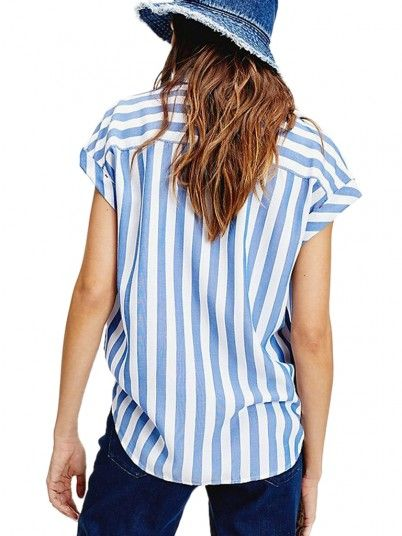 CAMISA MULHER STRIPE ROLL UP TOMMY JEANS