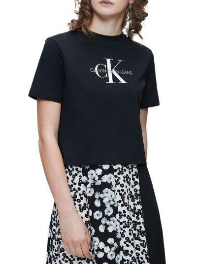 T-Shirt Woman Monogram Black Calvin Klein