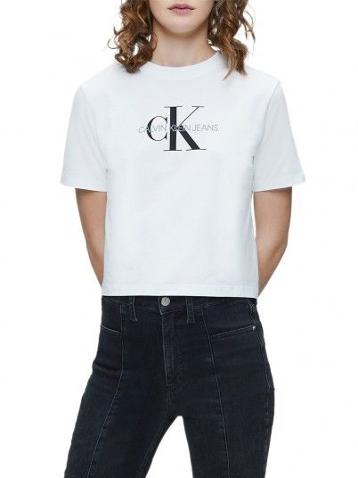 T-Shirt Woman Monogram White Calvin Klein
