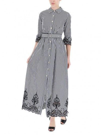 Dress Woman Fracomina Black Stripes Fracomina
