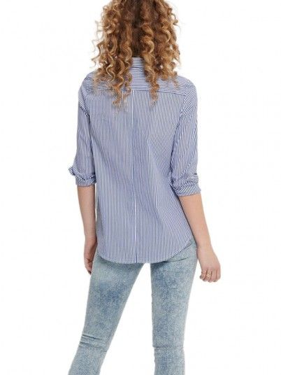 Camisa Mujer Raya Azul Only