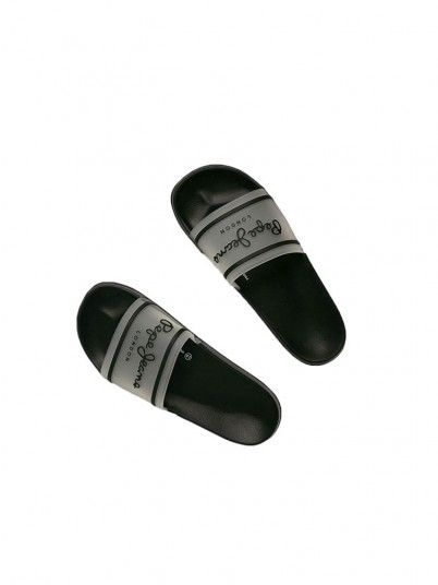 Flip Flops Man Black W / White Pepe Jeans London