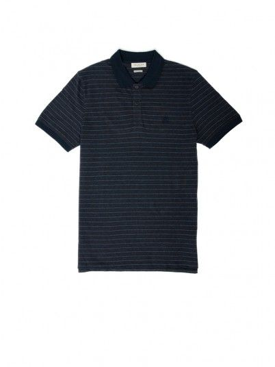 Polo Shirt Man Blue Stripe Selected