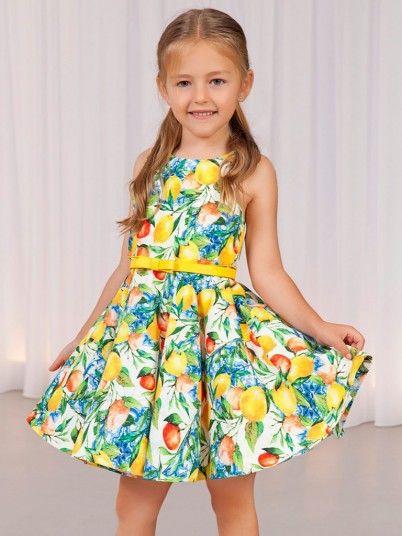 Vestido Estampado Limões Menina Abel&lula