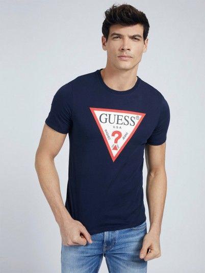 T-Shirt Man Navy Blue Guess