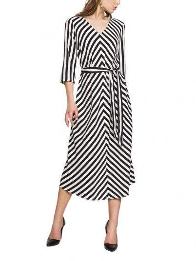 Dress Woman Black Stripe Only