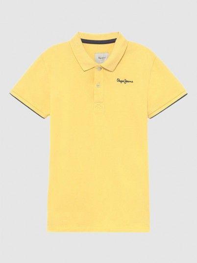 Polo Shirt Boy Yellow Pepe Jeans London