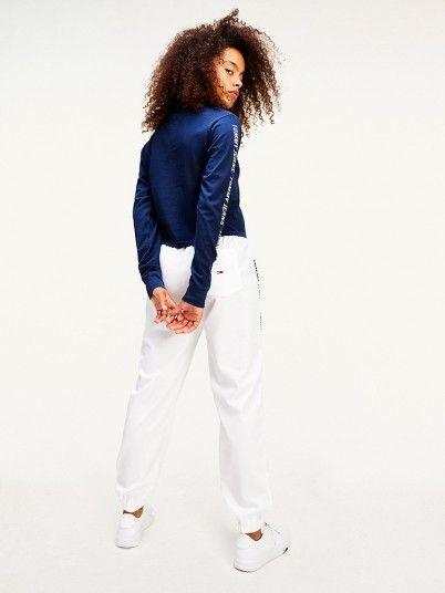 Sweatshirt Mulher Crop Tape Tommy Jeans