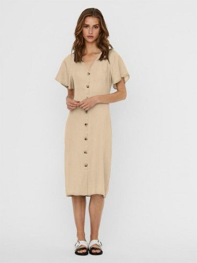 Dress Woman Beige Vero Moda