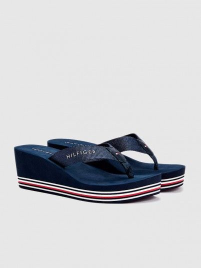 Chinelo Mulher Stripes Wedge Tommy Jeans
