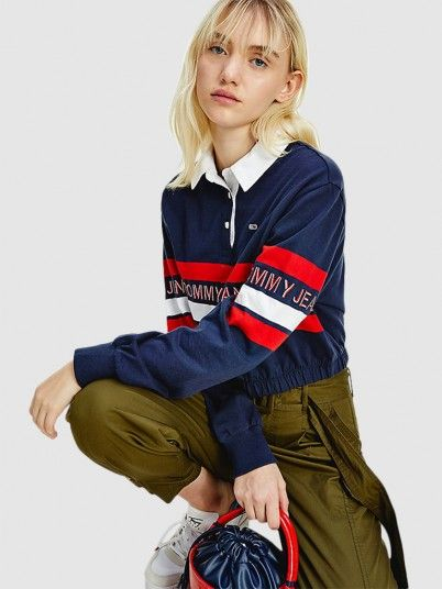Polo Shirt Woman Navy Blue Tommy Jeans